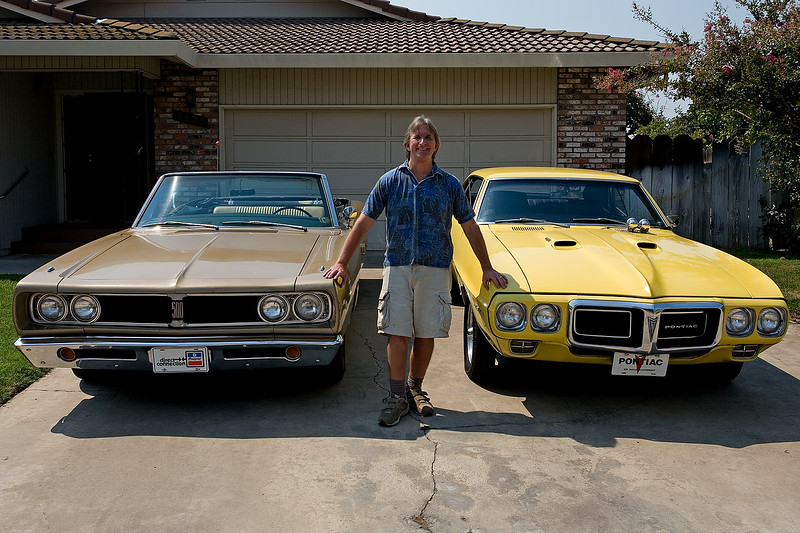 My 1968 Dodge Coronet 500 convertible and my Pontiac 1969 Firebird 400.