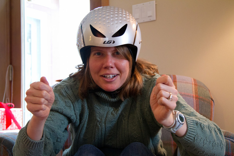 Carrie practices aero position with her new helmet