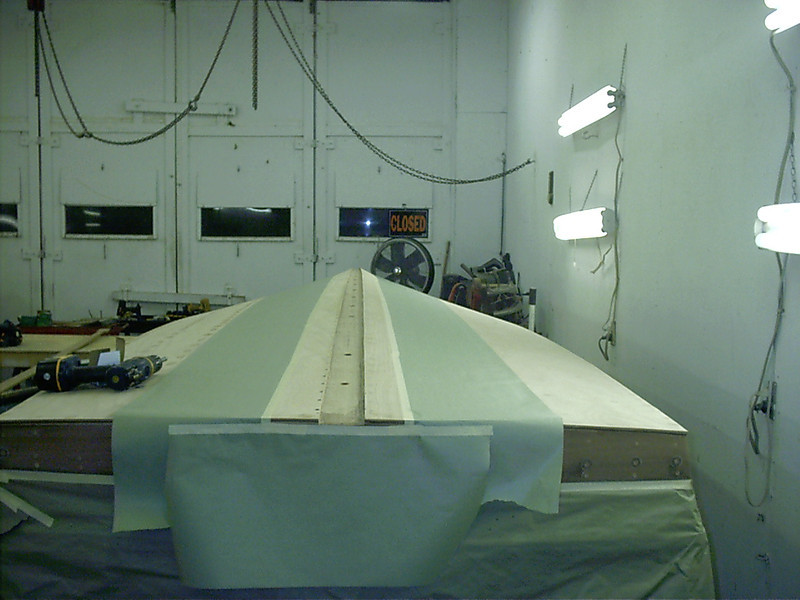 Rear view of setting up to glue the keel cap in place.