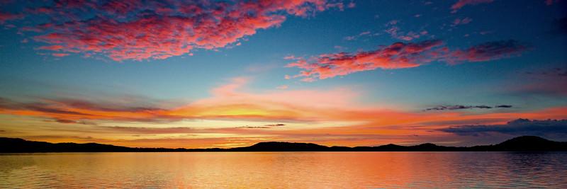 Magnificent pink cloud coastal sunrise view. Australia.