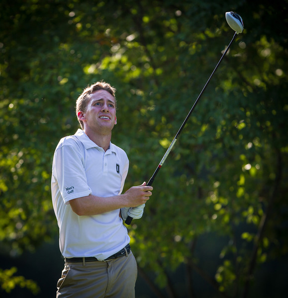 Peter Williamson watches his tee shot on 7 during second round medal play at the 2012 Western Amateur Championship at Exmoor Country Club in Highland Park IL. on Wednesday, August 1, 2012. (WGA Photo/Charles Cherney)