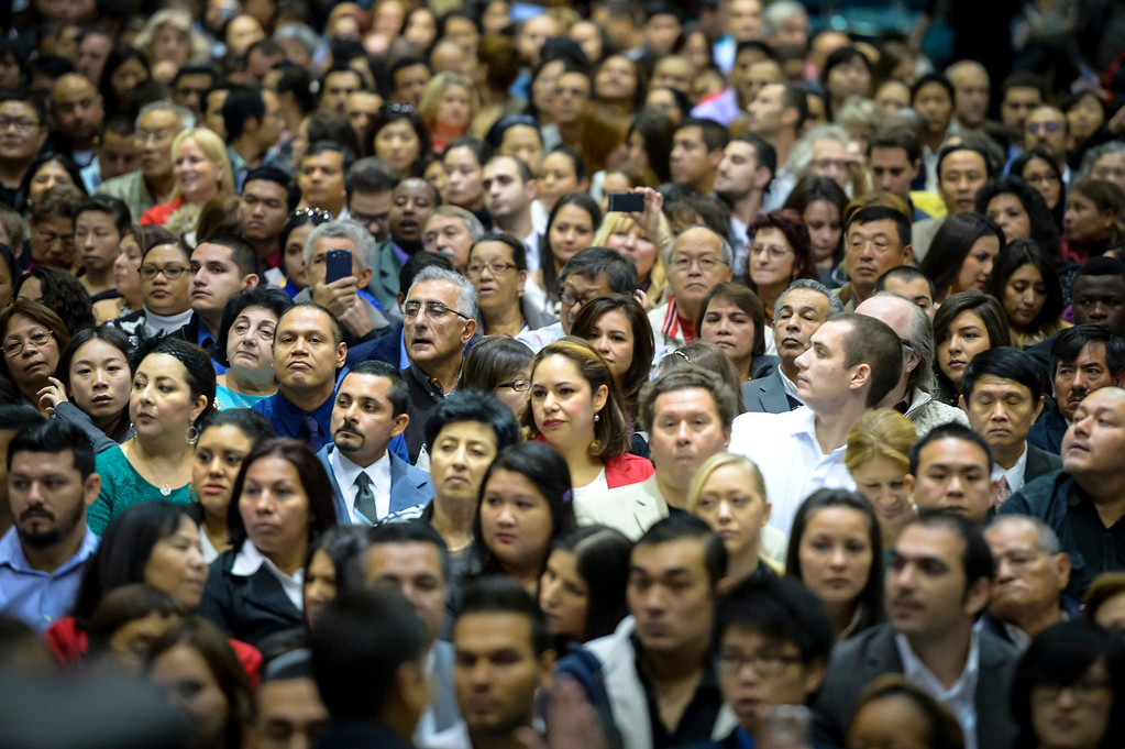 . Some of the new 3,793 US Citizens sworn in at the Los Angeles Convention Center Tuesday, December 17, 2013.  ( Photo by David Crane/Los Angeles Daily News )