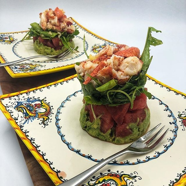 On the table tonite: Lobster Tail Salad with Watermelon, Avocado and Arugula