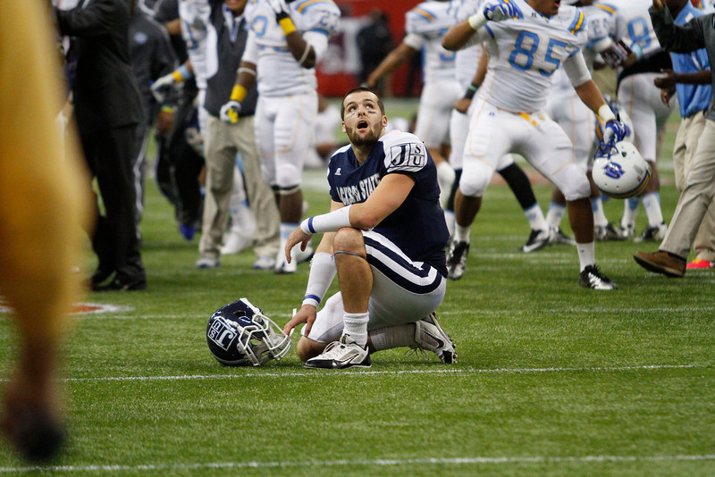 Clayton Moore is shocked after an apparent touchdown pass is ruled out of bounds during the SWAC Championship game. (Charles A. Smith/For the Clarion Ledger)