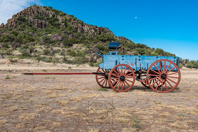Blue chuck wagon in desert setting