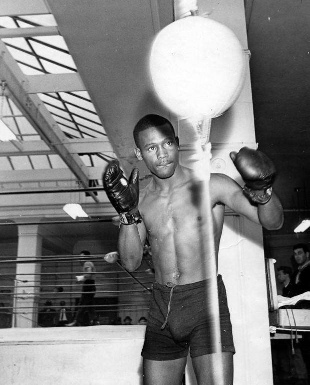 . February 25, 1967 - Nate Collins working on speed bag. (Howard Erker / Oakland Tribune)