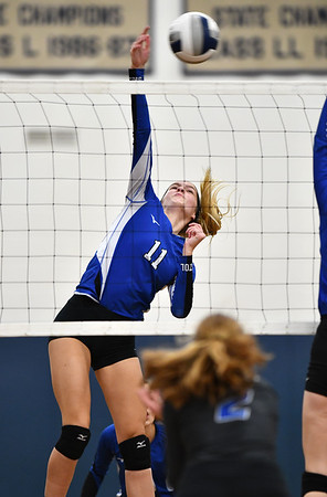 11/1/2019 Mike Orazzi | StaffrBristol Easterns Ryley Plourde (11) at the net during Friday night's girls volleyball match with Lyman Memorial in Bristol. r