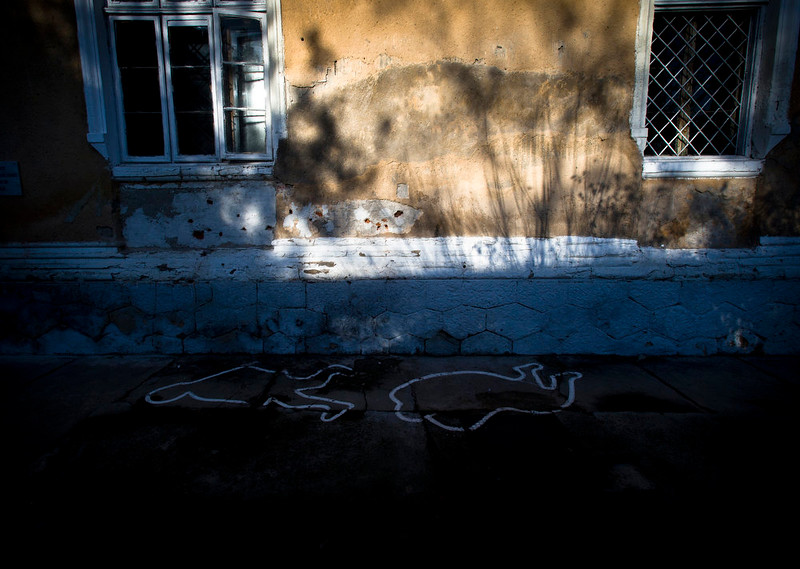 . A picture taken on Dec. 15, 2014 shows the wall, at a military garrison in Targoviste, Romania, where communist dictator Nicolae Ceausescu and his wife Elena were executed by firing squad on Dec. 25, 1989.  (AP Photo/Vadim Ghirda)