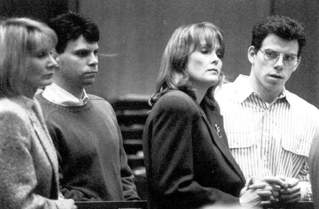 . Lyle and Erik Menendez, from left, appear in court with attorneys Marcia Morrissey and Jill Lansing.   (L.A. Daily News file photo)