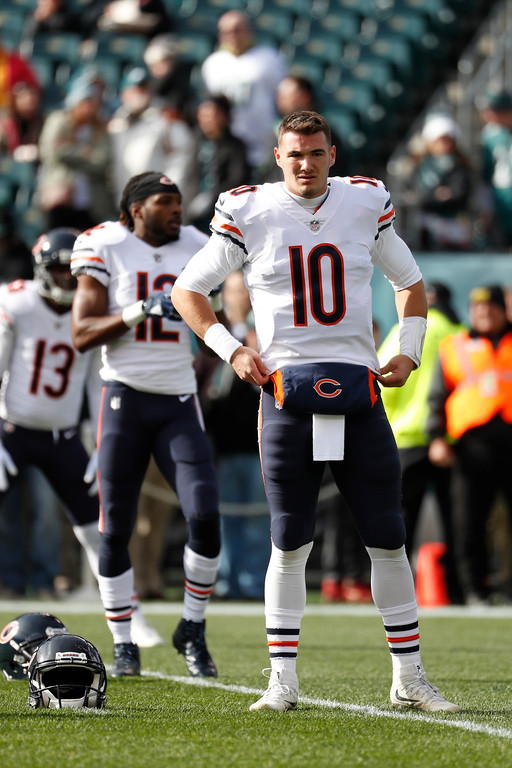. Chicago Bears\' Mitchell Trubisky warms up before an NFL football game against the Philadelphia Eagles, Sunday, Nov. 26, 2017, in Philadelphia. (AP Photo/Chris Szagola)