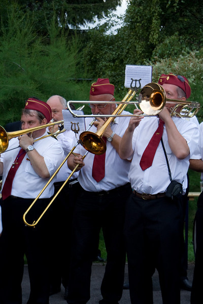 """Herrmalle. Many of the towns in southern Belgium have an annual """"battle of the bands"""" and """"dance till you drop"""" competition. It seems to basically be an excuse for a big summer party. We seemed to be the only Americans on hand."""