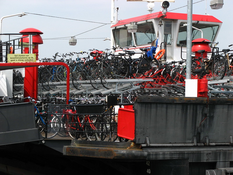 A boat, bike parking lot in Amsterdam.