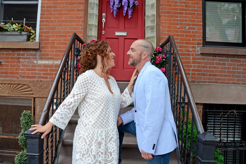 "BROOKLYN, NEW YORK - MAY 14, 2016: ""Talk Stoop"" Wedding for Goldry Rogan & Tami Farber hosted by Cat Greenleaf on May 14, 2016 in Brooklyn, New York. (Photo by Lukas Maverick Greyson)"