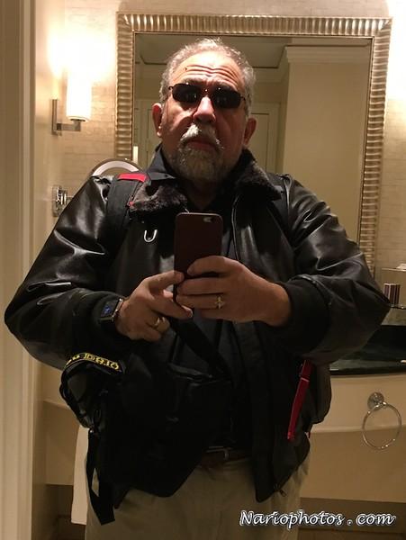 Ha Ha Ha Mini-summer over Here I am Leaving Miami Boston Bound: Selfie loaded with gear