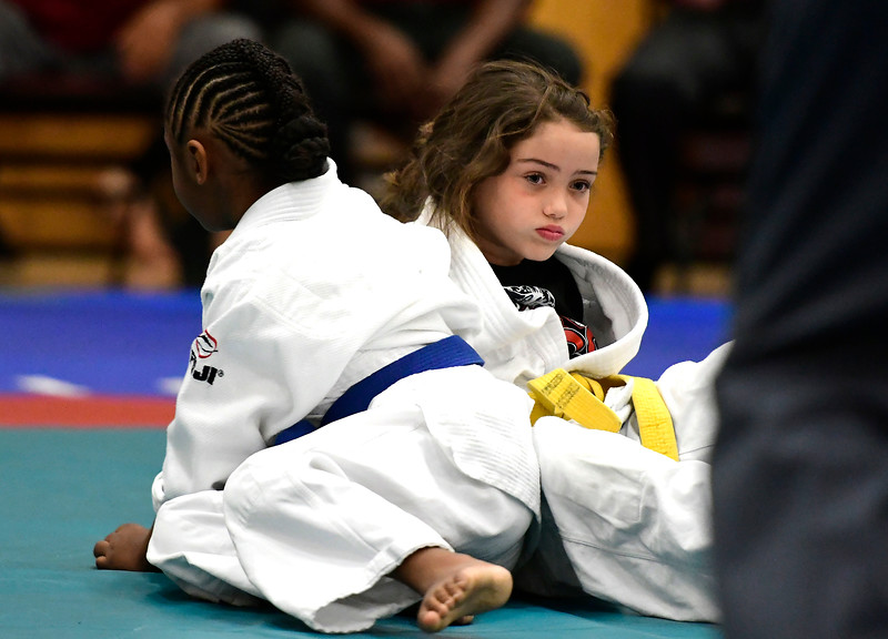 7/21/2018 Mike Orazzi | Staff Aleya Mercado and Kylie Dunn during the Nutmeg Games Judo held at New Britain High School Saturday morning.