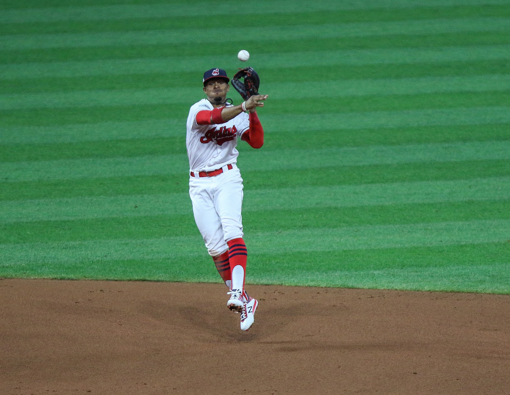 . Tim Phillis - The News-Herald Francisco Lindor makes a throw during Game 1 of the American League Division Series against the Yankees on Oct. 5 at Progressive Field.