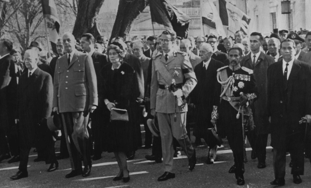 . World leaders walk in the funeral procession as it leaves the White House. They include from left, front row:  Heinrich Lubke, West German president; French President Charles de Gaulle; Queen Frederika of Greece; King Baudouin of Belgium; Emperor Haile Selassie of Ethiopia; and President Diosdado Macapagal of the Philippines. Associated Press file