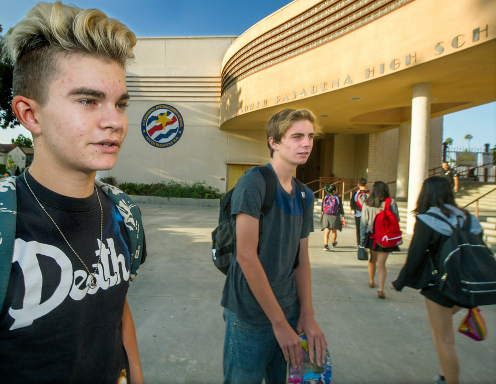 . Sam Hoadley, 16 and Jackson Thiel 17, seniors discussing their concerns on first day back to school at South Pasadena High School Thursday, August 21, 2014. This the the campus where a 16- and 17-year-old boy allegedly planned a mass shooting to kill three staff members and as many students as possible, Police Chief Arthur Miller said. The Los Angeles County District Attorney\'s Office on Wednesday charged both boys with one count of making criminal threats. The D.A. has not charged the teens for conspiracy to commit a mass shooting, just a shooting. (Photo by Walt Mancini/Pasadena Star-News)