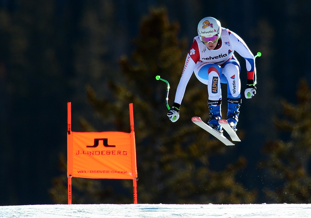 . Nadja Jnglin-Kamer, (SUI),  flies over the Red Tail jump, the last jump, in the Women\'s downhill race in the FIS Alpine World Ski Championships in Beaver, CO. February 6, 2015. (Photo By Helen H. Richardson/The Denver Post)