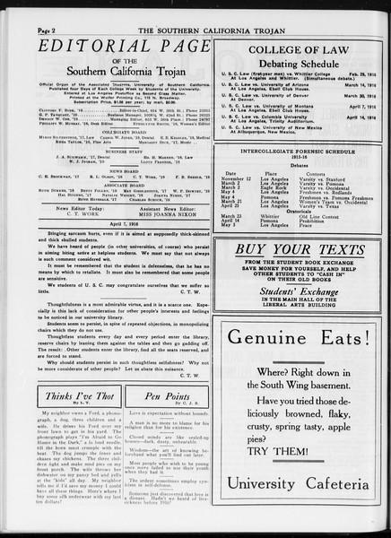 The Southern California Trojan, Vol. 7, No. 96, April 07, 1916