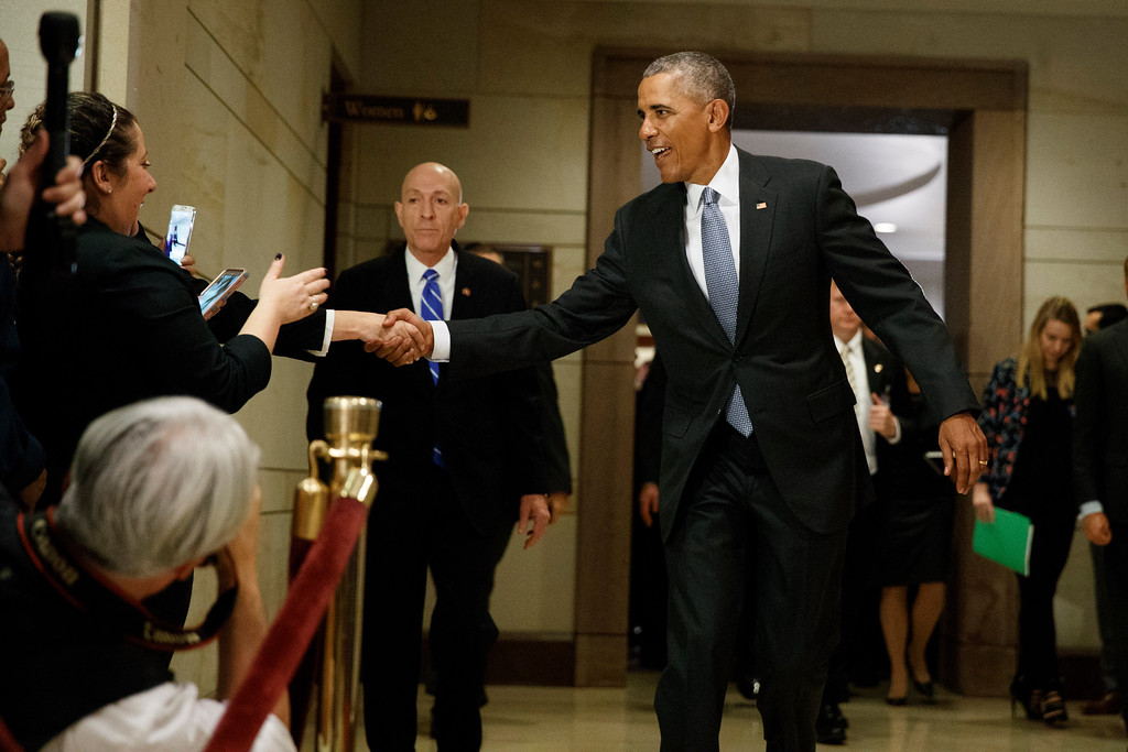 . President Barack Obama shakes hands as he leaves a meeting about his signature healthcare law with members of Congress, Wednesday, Jan. 4, 2017 on Capitol Hill in Washington. (AP Photo/Evan Vucci)