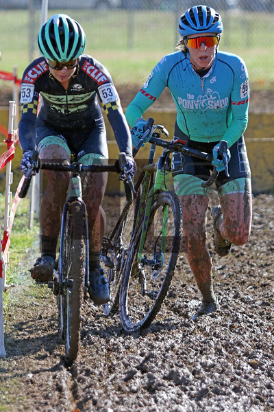 Erica Zaveta (56) and Caroline Nolan (53) compete in the NC Cyclocross North Carolina Grand Prix at Jackson Park in Hendersonville, N.C., on Nov. 24, 2019
