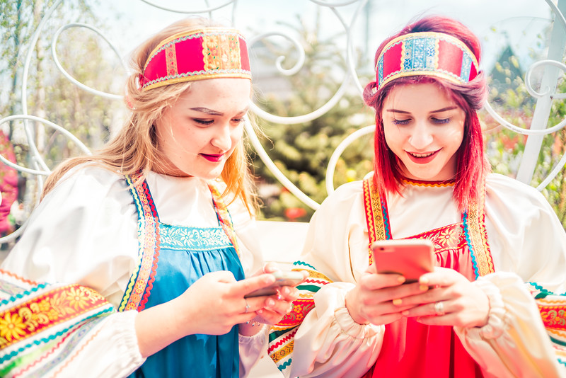 Russian Girls on their Phones