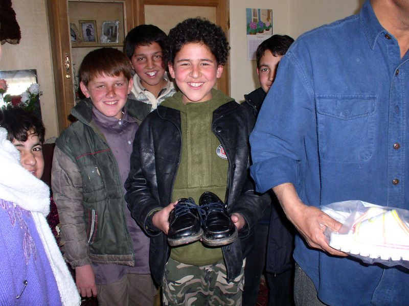 These boys are also happy with the shoes, each had a story to tell.
