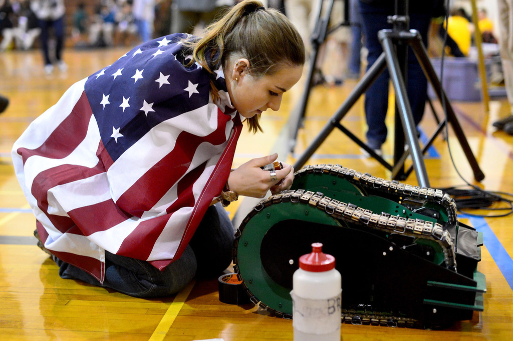 ". Avengers Erin Evans readies her team\'s vehicle the Hulk as teams of mechanical engineering Caltech students compete in the annual ME72 Engineering Design Contest at the Pasadena campus Tuesday, March 11, 2014. The goal in ""Raiders of the Lost Can\"" was to move their team\'s can closest to the center of a platform.  The McNuggets came in first. (Photo by Sarah Reingewirtz/Pasadena Star-News)"