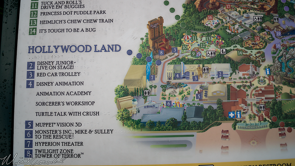 Disneyland Resort, Disney California Adventure, Buena Vista Street, Guide Map, Brail, Hollywood Land, Twilight Zone Tower of Terror, Tower Of Terror, Guardians Of The Galaxy Mission Breakout