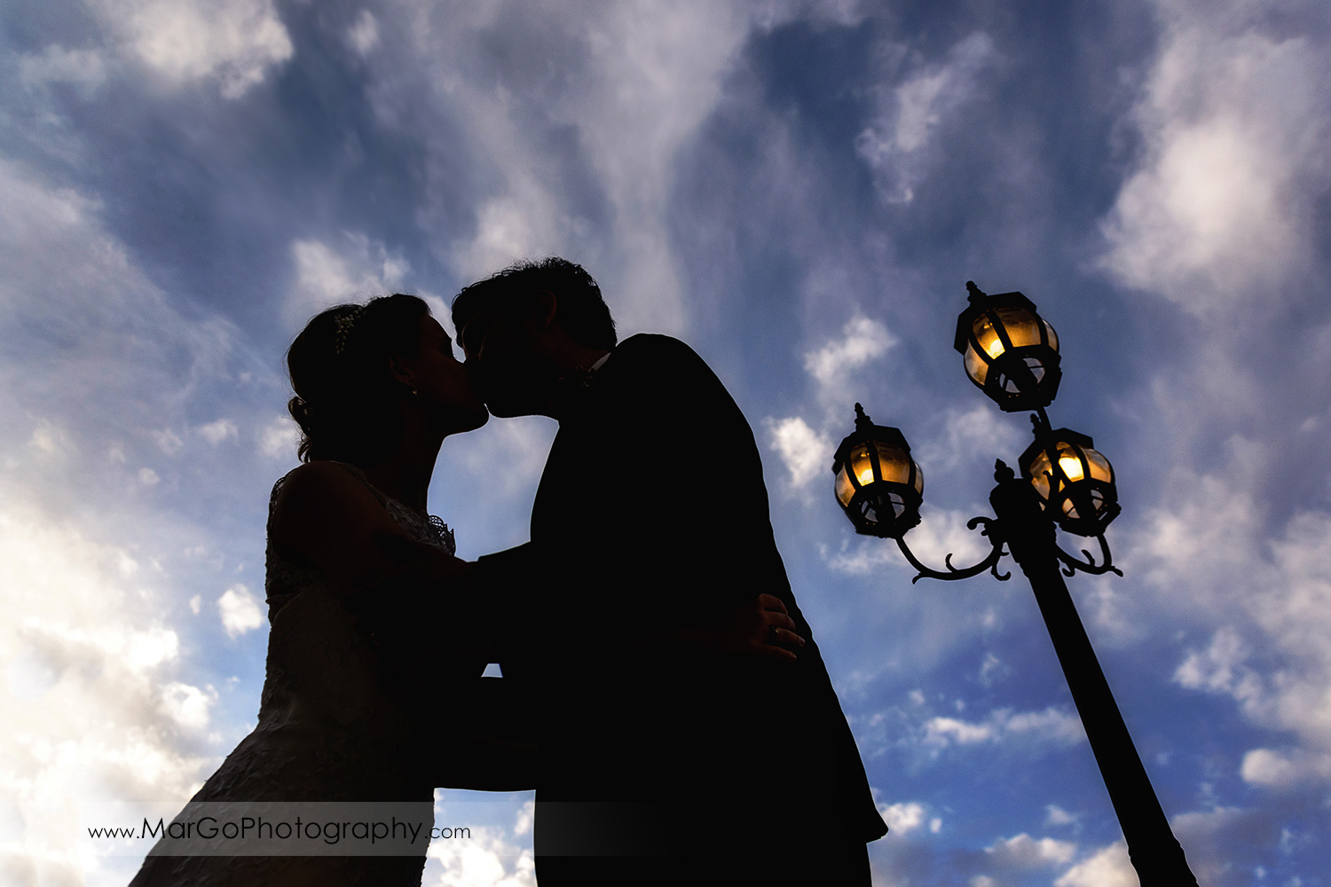 silhouette of kissing bride & groom on the blue sky at Fremont Century House & Gardens