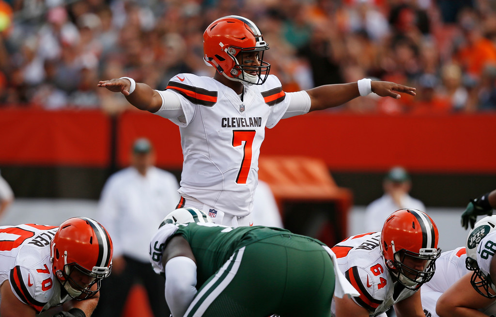 . Cleveland Browns quarterback DeShone Kizer gives a signal during the first half of an NFL football game against the New York Jets, Sunday, Oct. 8, 2017, in Cleveland. (AP Photo/Ron Schwane)