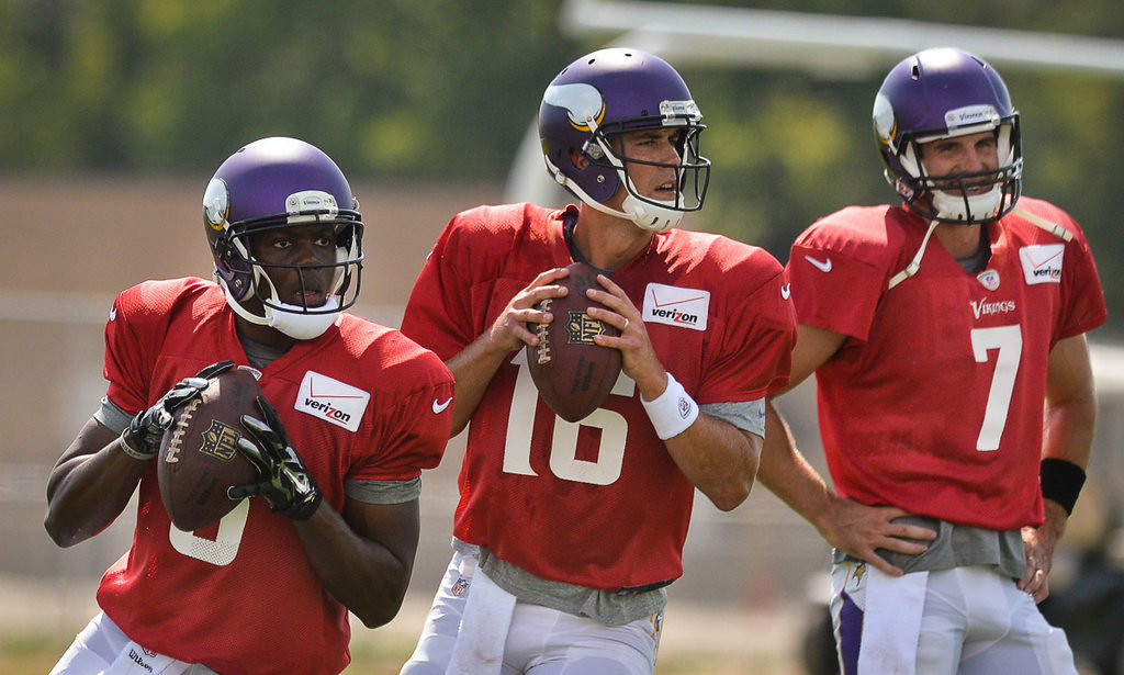 ". <p><b>MINNESOTA VIKINGS</b> </p><p><i>�Un-Christian Science�</i> </p><p>Cassel is ready </p><p>And so is young Teddy </p><p>Of the QBs, you couldn�t be fonder </p><p>Though the defense is crappy </p><p>The folks will be happy </p><p>They�re no longer driving a Ponder <br></p><p>PREDICTION: <b>6-10 � Last place in NFC North </b> ></p><p><i><b><a href=""http://www.twincities.com/vikings/ci_26353366/vikings-matt-cassel-teddy-bridgewater-rivalry-is-friendly\"" target=\""_blank\""> LINK </a></b> </i></p><p><i>   (Pioneer Press: Ben Garvin)</i></p>"