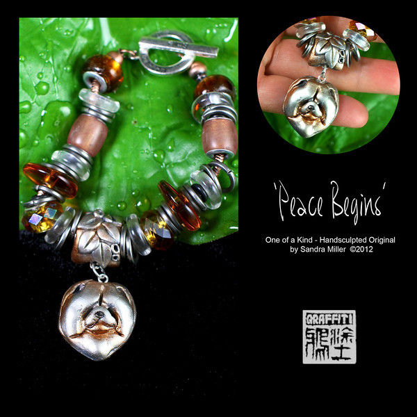 """This is one gorgeous charm bracelet, created in the """"Pandora"""" style, where the charms can be removed or added to by unscrewing one end of the bracelet!!    I started with a silver and copper toned chow charm which I handsculpted and also created a custom bail for the chain to pass through.  The copper tone antiqued chain is piled high with charms, stainless rings and beads including riveted lucite, , vintage amber lucite discs, glass rings, handmade dichroic glass rounds and glass crystals.  Arrange em any way you like!!!  The clasp is a wonderful toggle which on the ring says PEACE BEGINS WITH A The bar says SMILE  I don't make bracelets very often so this is your perfect chance to grab a special one of a kind design to dress up your wrist!!  PEACE BEGINS  removable charm bracelet (end screws off) Clasp says """"Peace Begins with a SMILE""""  BRACELET FITS MOST SMALL TO MEDIUM WRISTS I can extend this for larger wrists…just ask! BRACELET MEASURES 7"""" LONG without clasp Clasp adds 3/4"""" to the total length"""