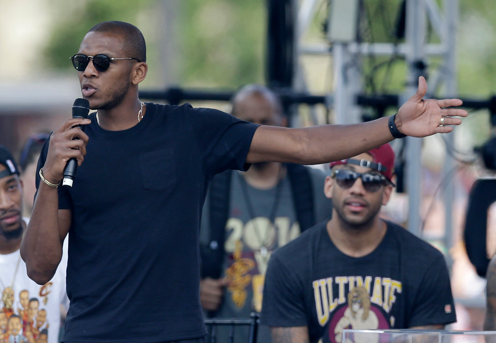 . Cleveland Cavaliers\' James Jones speaks during a rally, Wednesday, June 22, 2016, in Cleveland. The Cavaliers made history by overcoming a 3-1 deficit to beat the Golden State Warriors in the NBA Finals and end the city\'s 52-year drought without a professional sports championship. (AP Photo/Tony Dejak)