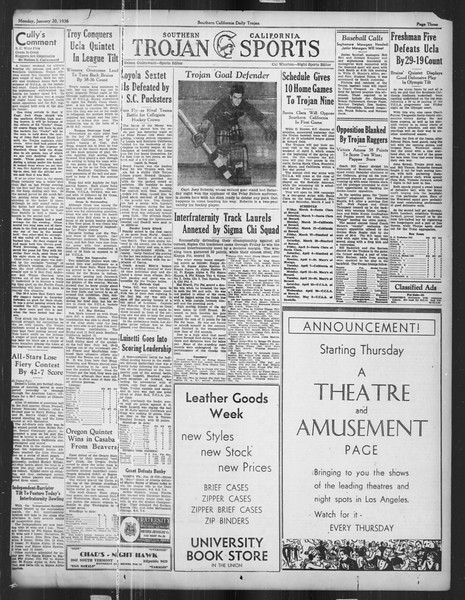 Daily Trojan, Vol. 27, No. 68, January 20, 1936