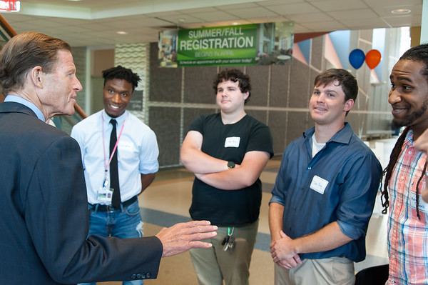 08/10/18 Wesley Bunnell | Staff Senator Richard Blumenthal speaks to advanced manufacturing students from programs in the CSCU system including Shawn Burgos, 3rd from L, Dale Twigg, and Marquel Russel, far right, during his visit to Tunxis Community College on Friday. The Senator spoke about the importance of the new advanced manufacturing program offered by the school and the demand for advanced manufacturing jobs within Connecticut.