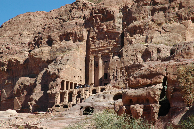 The Petra ruins include many large, impressive tombs, such as this one, carved from solid rock.