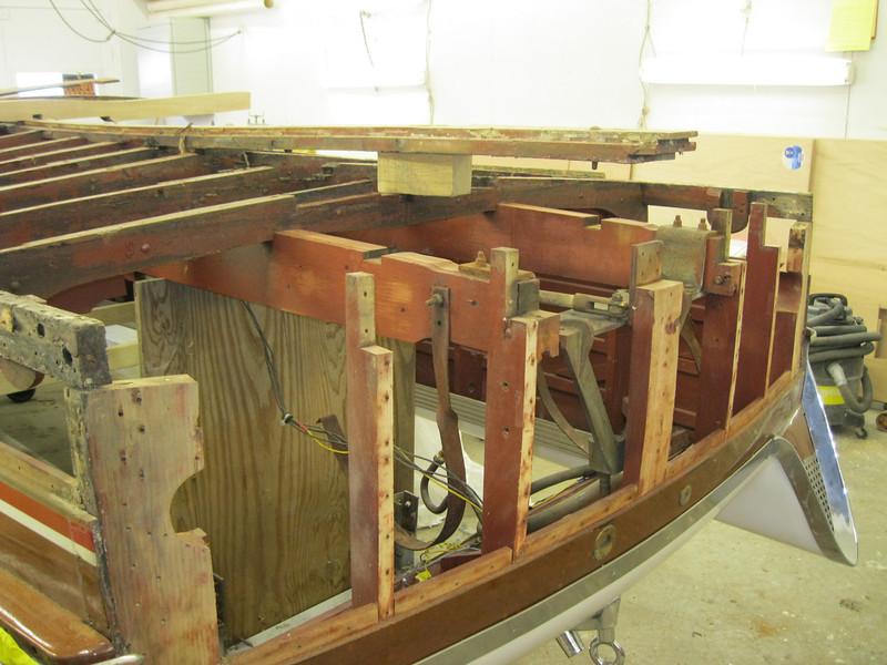 Transom bottom frame and next frame forward removed.