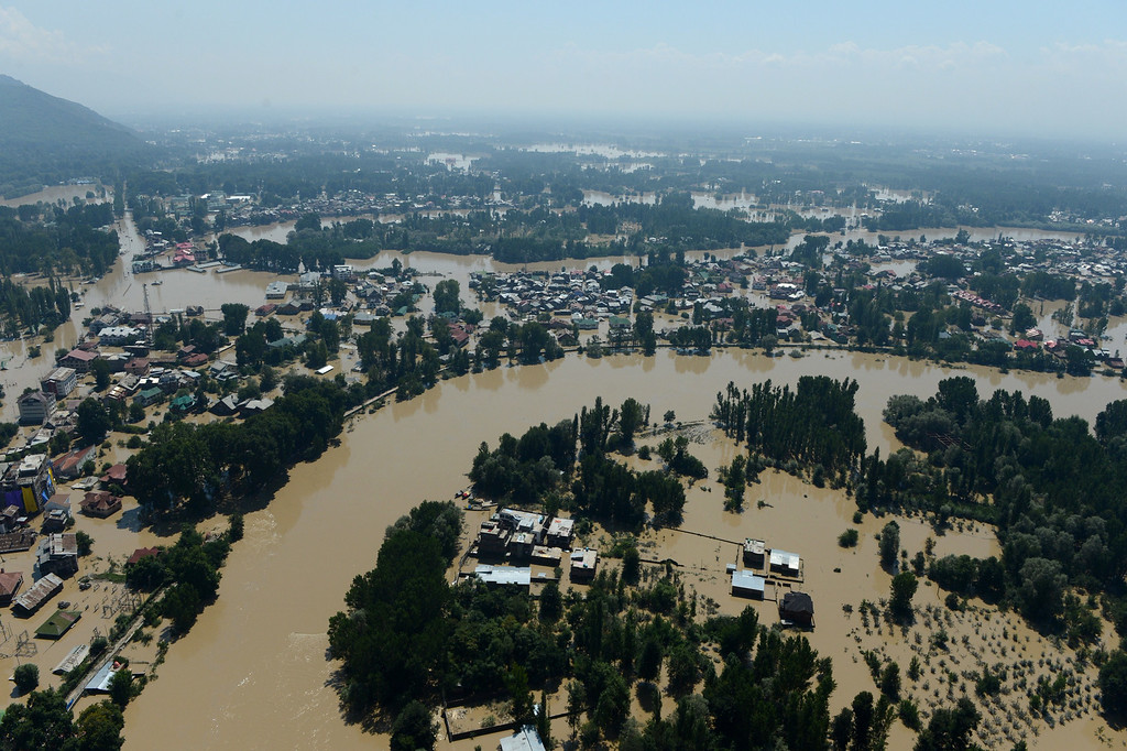 . Kashmiri houses submerged by floodwater are seen from an Indian Air Force helicopter during rescue and relief operations in Srinagar on September 10, 2014. AFP PHOTO/Tauseef MUSTAFA/AFP/Getty Images
