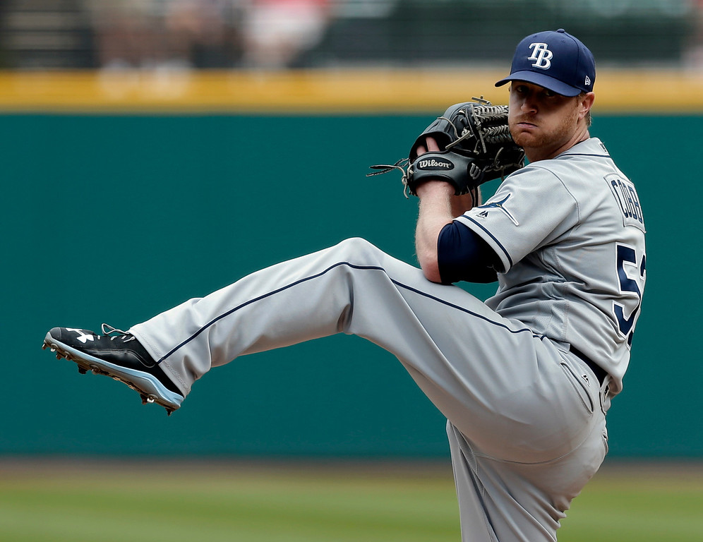 . Tampa Bay Rays starting pitcher Alex Cobb delivers in the first inning of a baseball game against the Cleveland Indians, Wednesday, May 17, 2017, in Cleveland. (AP Photo/Tony Dejak)