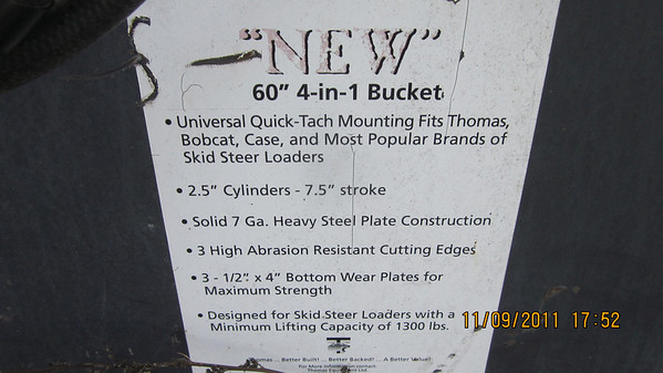 "4 in 1 bucket, 60"", thomas brand $1500"