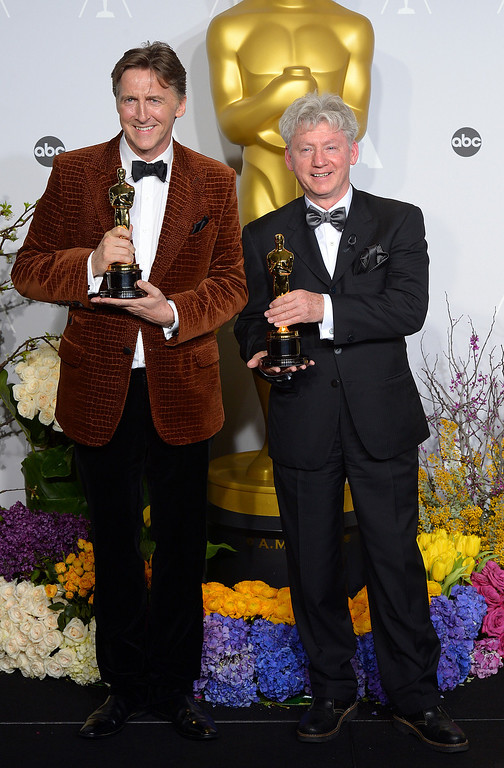 ". Malcom Clarke and Nicholas Reed accept the Oscar for ""Best Documentary Short Subject\"" for the film The Lady In Number 6: Musics Saved my Life,  backstage at the 86th Academy Awards at the Dolby Theatre in Hollywood, California on Sunday March 2, 2014 (Photo by David Crane / Los Angeles Daily News)"