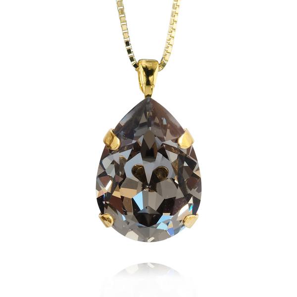 Classic Drop Necklace / Black Diamond / Gold