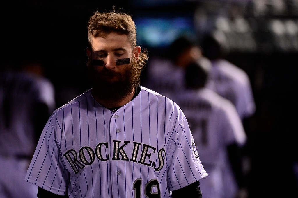 . DENVER, CO - APRIL 12: Colorado Rockies center fielder Charlie Blackmon (19) walks through the dugout after the game at Coors Field on April 12, 2016 in Denver, Colorado. San Francisco Giants defeated the Colorado Rockies 7-2. (Photo by Brent Lewis/The Denver Post)