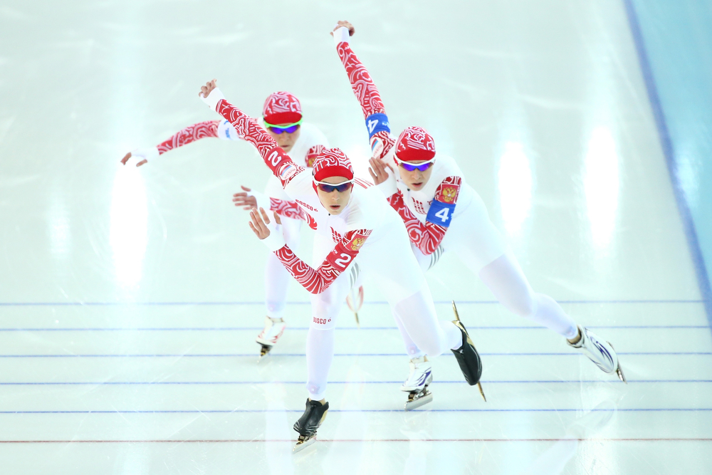 . (L to R) Olga Graf, Yekaterina Lobysheva and Yuliya Skokova of Russia compete during the Women\'s Team Pursuit Final B Speed Skating event on day fifteen of the Sochi 2014 Winter Olympics at  at Adler Arena Skating Center on February 22, 2014 in Sochi, Russia.  (Photo by Ryan Pierse/Getty Images)