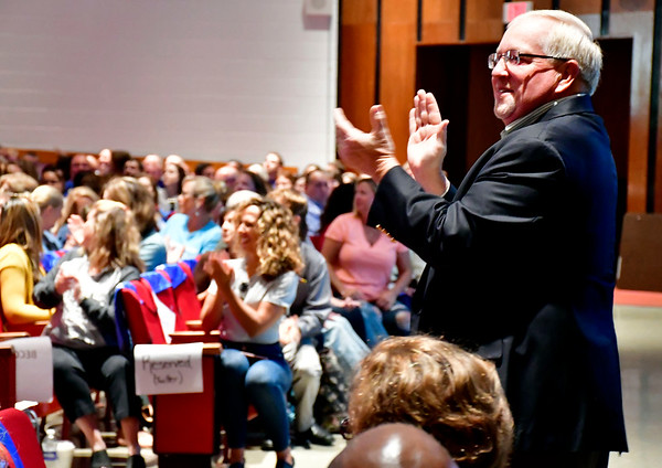 8/27/2019 Mike Orazzi | Staff Chris Wilson, chairman of the Board of Education, during the convocation held at Bristol Central High School as teachers and administrators prepare for the start of the school year.