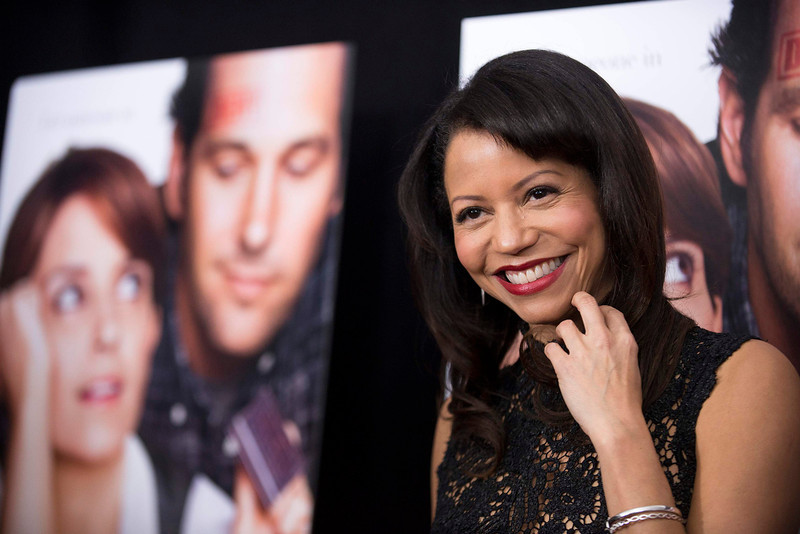 ". Cast member Gloria Reuben poses at the premiere of ""Admission\"" in New York, March 5, 2013. REUTERS/Keith Bedford"