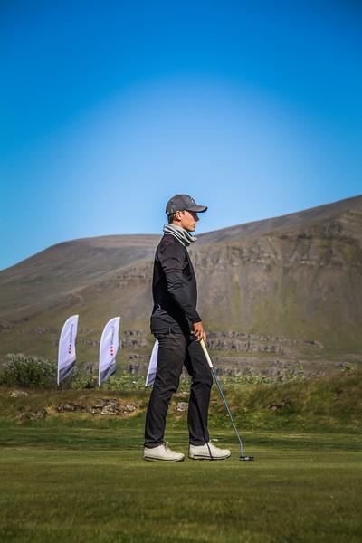 Hlynur Bergsson, GKG, á 9. flöt á Garðavelli.  Mynd/seth@golf.is