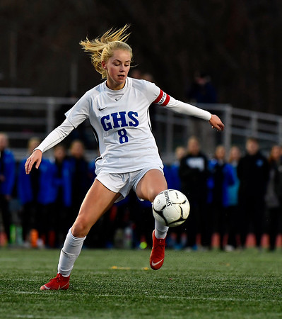 11/23/2019 Mike Orazzi | StaffrGlastonbury's Chloe Landers (8) during the Class LL Girls State Soccer Tournament at Veterans Stadium in New Britain Saturday evening. Glastonbury defeated Southington 1-0.
